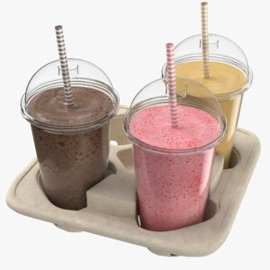 3D real milkshakes tray