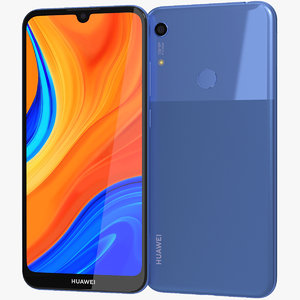 realistic huawei y6s blue 3D model