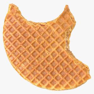 3D caramel waffle 01 bitten