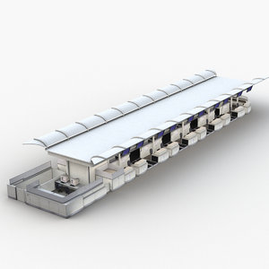 3D airport check-in counter