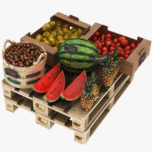 3D model greengrocer rack fruits 1