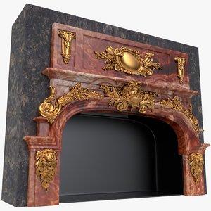 3D model fireplace x1