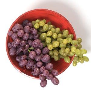 red grapes bowl 3D model
