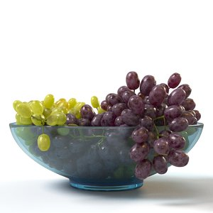 3D model red grapes glass bowl