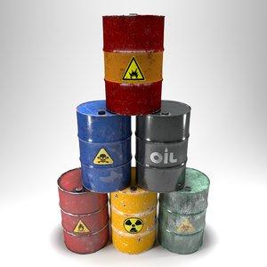 damaged barrels 3D model