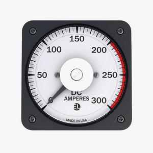 3D vintage dc panel ammeter