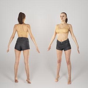 scanned human woman a-pose 3D