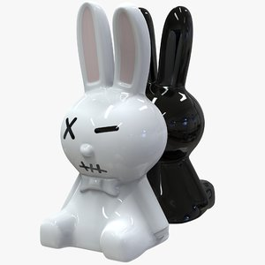 3D white amp black rabbit model