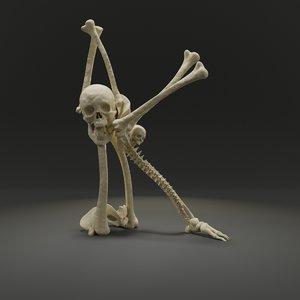 letter k bones skeleton 3D model