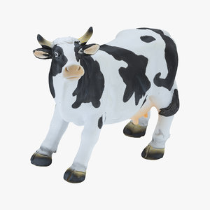 3D black white cow statue model