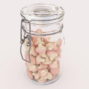 3D model candy jar mushroom