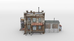 old factory building small 3D model