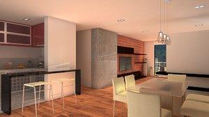 3D sala comedor room