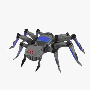 3D sci-fi spider robot model