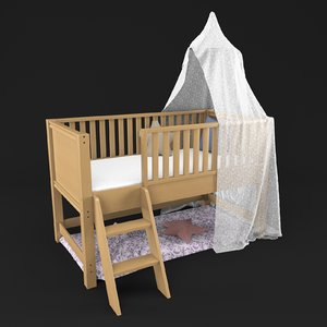 canopy bed kids 3D