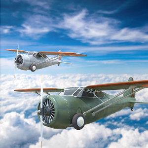 curtiss f13c light aircraft 3D model