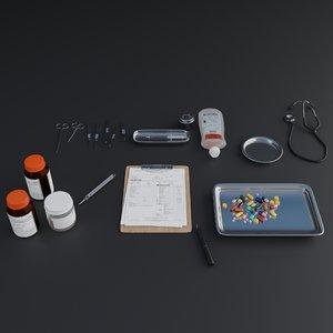 3D 20 small object hospital model
