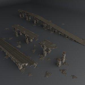 set destroyed bridge 3D model