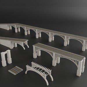 bridge kitbash preset set 3D model