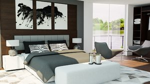 3D model room bed interior