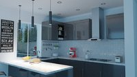 Small Kitchen Room with Food Appliances and Furniture