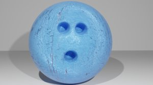 3D bowling ball blue painted model