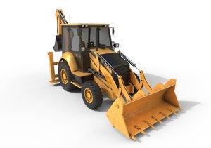 3D model loader backhoe