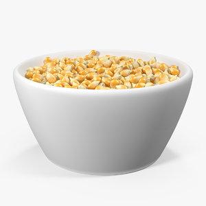3D corn seeds ceramic bowl model