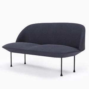 muuto oslo 2-seater sofa 3d max