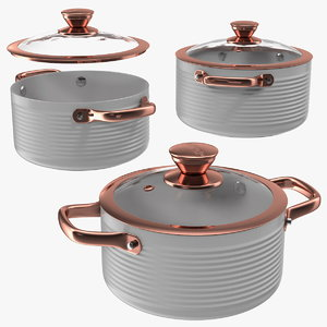 3D model tower white cooking pot