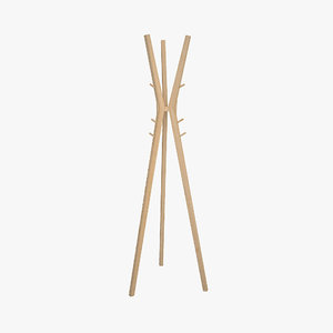 wooden coat stand 3D model