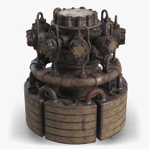 3D rusty industrial machine