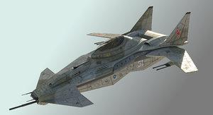 3D sci-fi warplane futuristic fighter