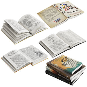 3D model set open books