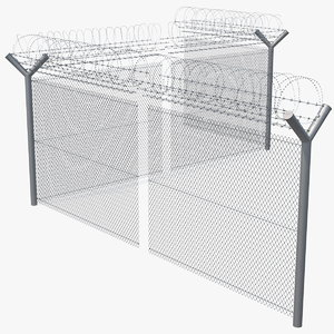 barbed razor wire mesh fence 3D model