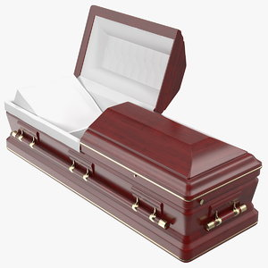 open wooden funeral casket model