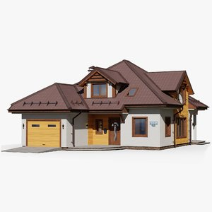 3D gameready house 13 cottage model