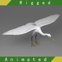 Egret Rigged Animated
