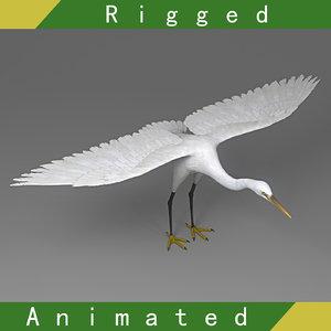 3D egret rigged animation model