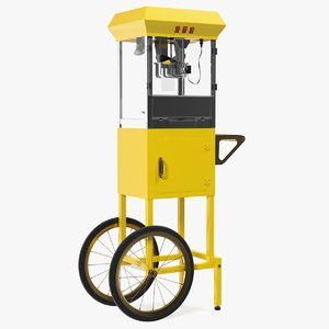 carnival popcorn popper cart 3D model