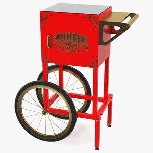 3D great northern popcorn cart model
