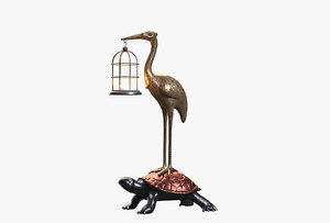 garden lamp bird turtle 3D model