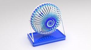 3D mini desk fan model