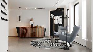 office reception scene model