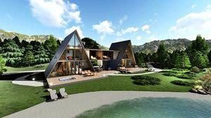 3D modern double frame house model