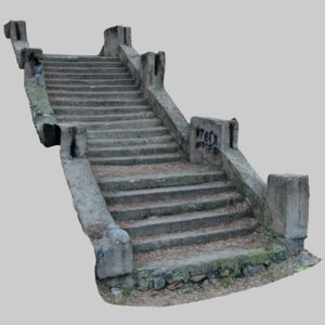 old ruined concrete staircase 3D model