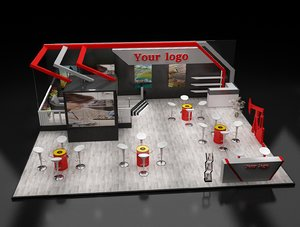 3D stand exhibition booth model