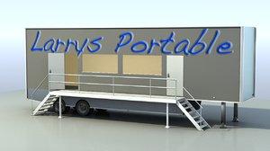 3D pop-up shop trailer mobile