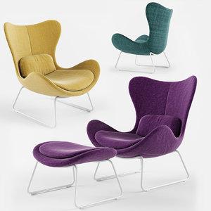 lazy armchair calligaris seat 3D