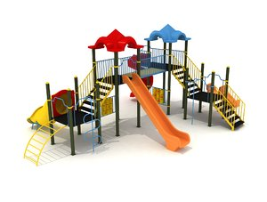 3D metal playground slide